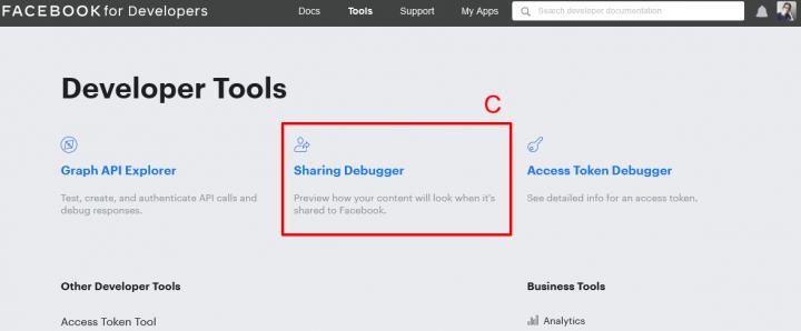 sharing debugger jak najít odkaz