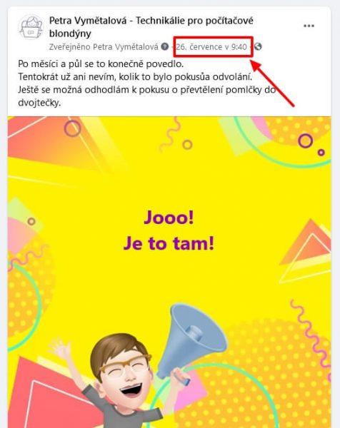 odkaz na příspěvek na facebooku