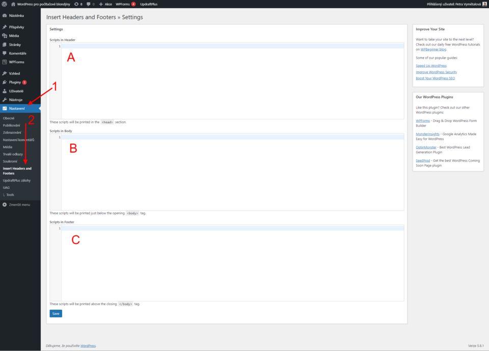 Vložit kód do hlavičky / patičky ve WordPressu