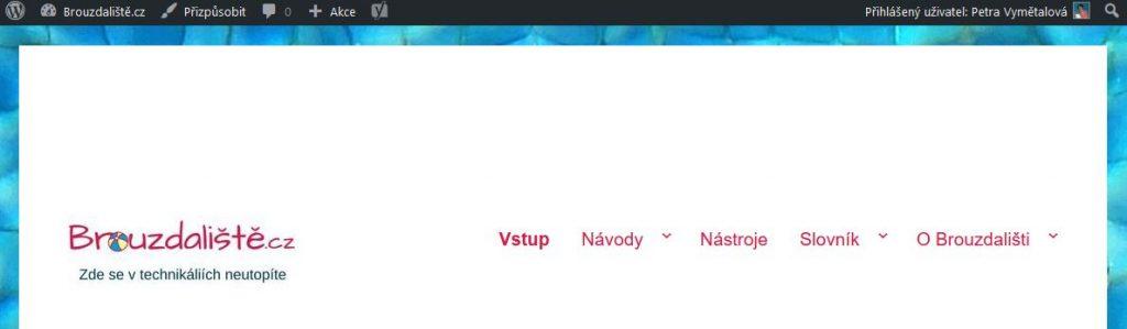 Navigační lišta ve WordPressu