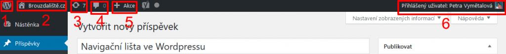 Navigační lišta v administraci WordPressu