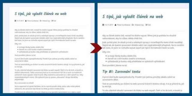 formátování článků na web - dílčí nadpisy