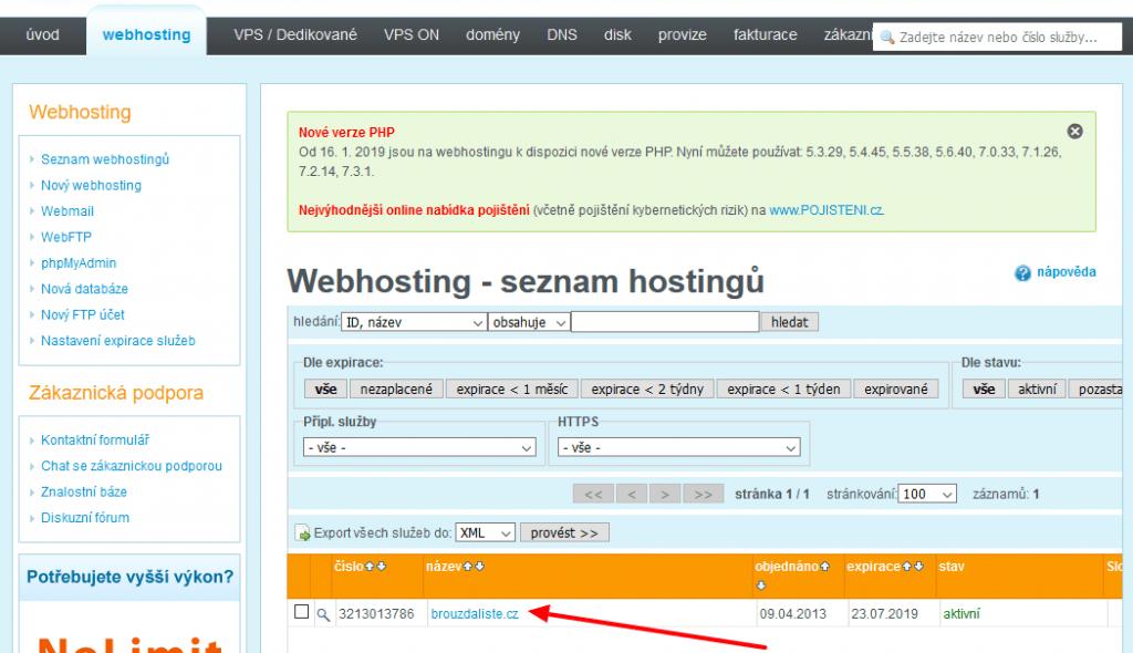 wedos správa webhostingu