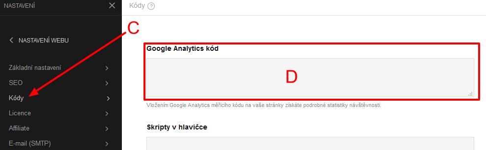 vložit kód Google Analytics do Miowebu