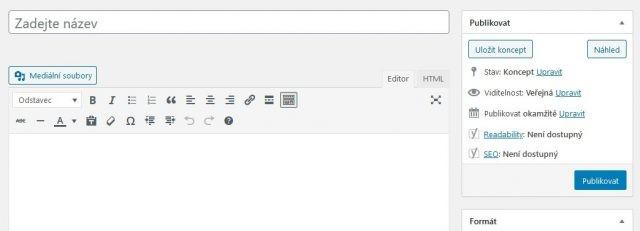wordpress - klasický editor
