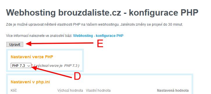 Změnit verzi PHP u Wedosu - nastavení