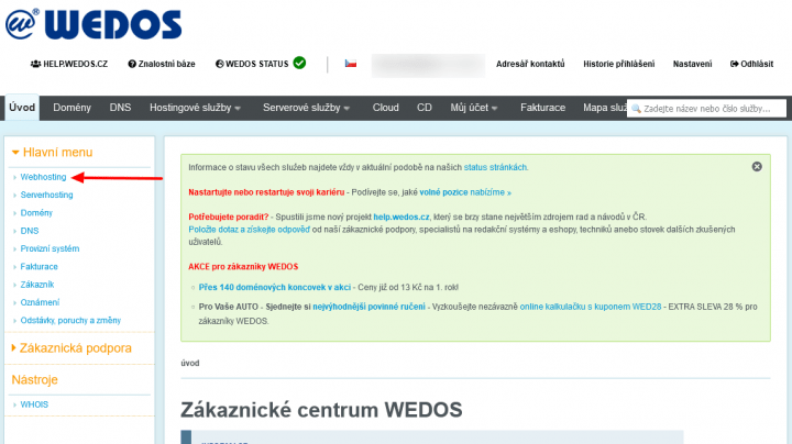 Wedos - otevřít přehled webhostingů